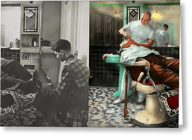 Barber - Shave - Pennepacker's Barber Shop 1942 - Side By Side Greeting Card by Mike Savad