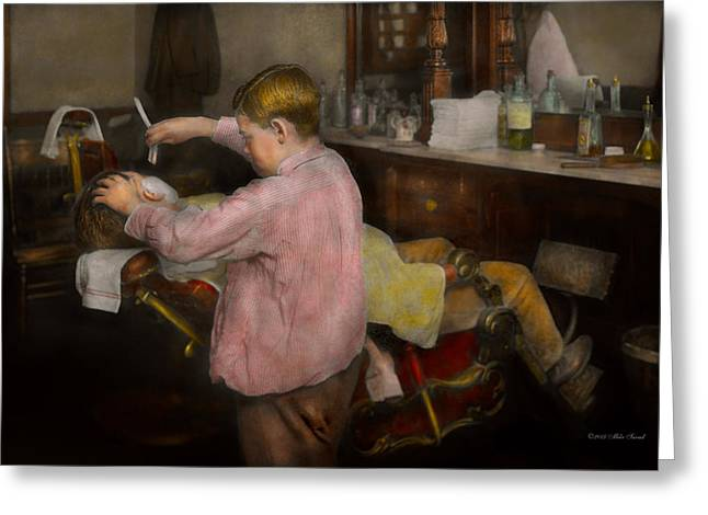 Groomer Greeting Cards - Barber - Shaving - Faith in a child - 1917 Greeting Card by Mike Savad