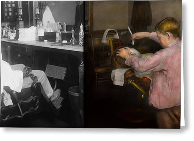 Groomer Greeting Cards - Barber - Shaving - Faith in a child - 1917 - Side by side Greeting Card by Mike Savad