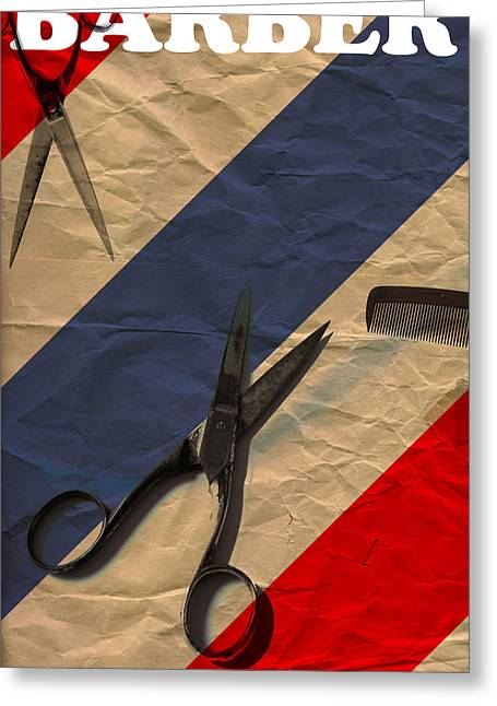 Scissors Greeting Cards - Barber Greeting Card by Shawn Ross
