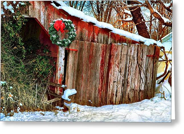 Julie Dant Photographs Greeting Cards - Barbers Christmas Barn Greeting Card by Julie Dant