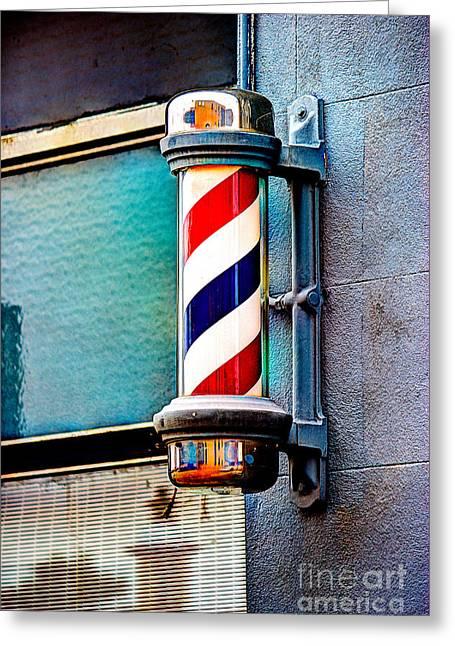 Van Buren Arkansas Greeting Cards - Barbers Pole Greeting Card by Jim Raines