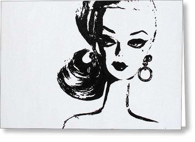 Classic Hollywood Paintings Greeting Cards - Barbie Greeting Card by Christine Paint it Black