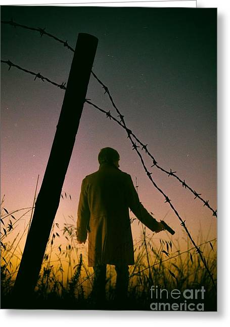 Fugitive Greeting Cards - Barbwire Trespassing Greeting Card by Carlos Caetano