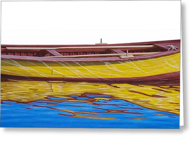 Fishing Boats Greeting Cards - Barca Amarilla Greeting Card by Horacio Cardozo