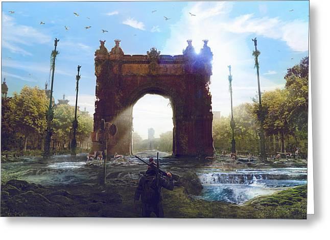 Barcelona Aftermath Arc De Triomf Greeting Card by Guillem H Pongiluppi