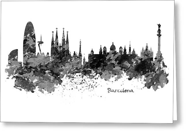 Barcelona Black And White Watercolor Skyline Greeting Card by Marian Voicu