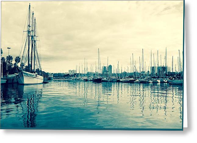 Masts Greeting Cards - Barcelona Blues Greeting Card by David Coleman