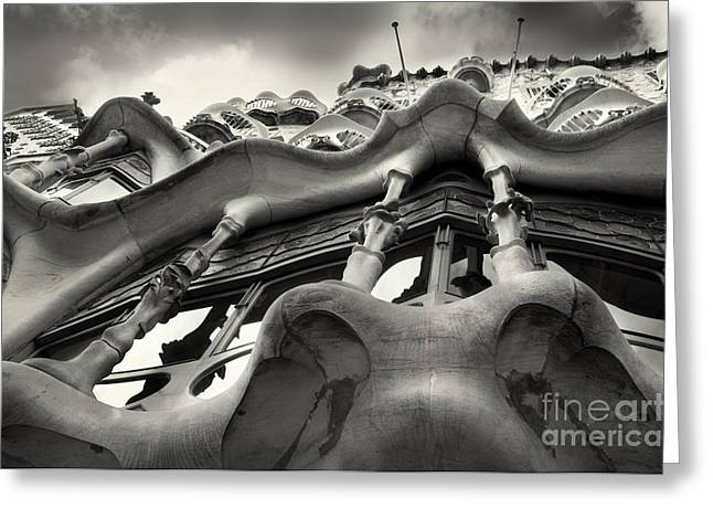 Olia Saunders Greeting Cards - Barcelona Casa Batllo Black White Greeting Card by Design Remix