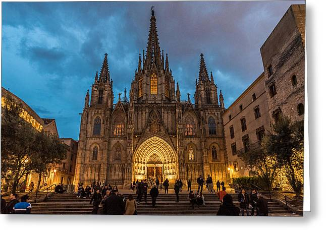 Barcelona Cathedral At Dusk Greeting Card by Randy Scherkenbach