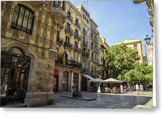 Barcelona City Square  Greeting Card by Georgia Fowler