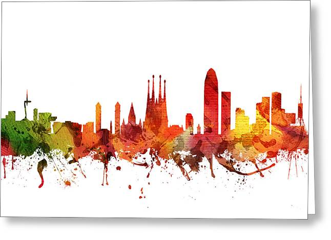 Barcelona Drawings Greeting Cards - Barcelona Cityscape 04 Greeting Card by Aged Pixel