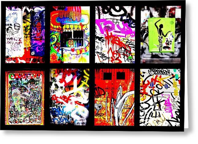 Barcelona Doors ... All Graffiti Greeting Card by Funkpix Photo Hunter