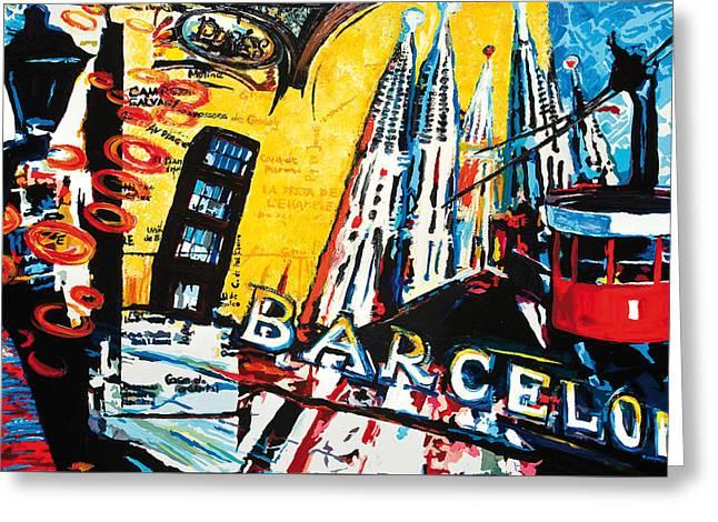 Barcelona Greeting Card by Gerald Herrmann