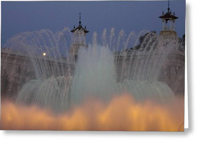 Golden Glass Art Greeting Cards - Barcelona in the Mist Greeting Card by Marsha Painter