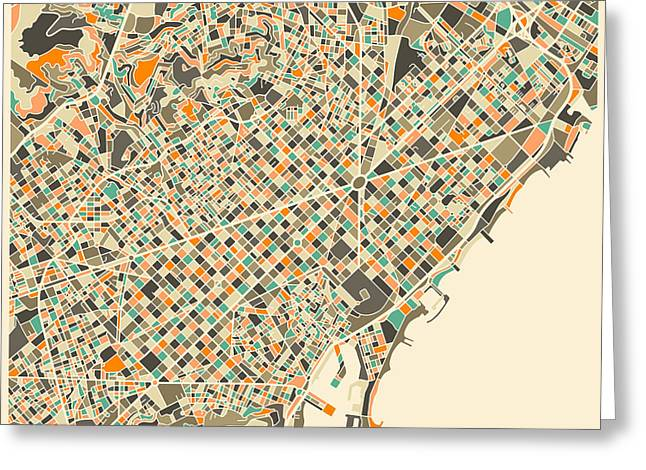 Barcelona Map Greeting Card by Jazzberry Blue