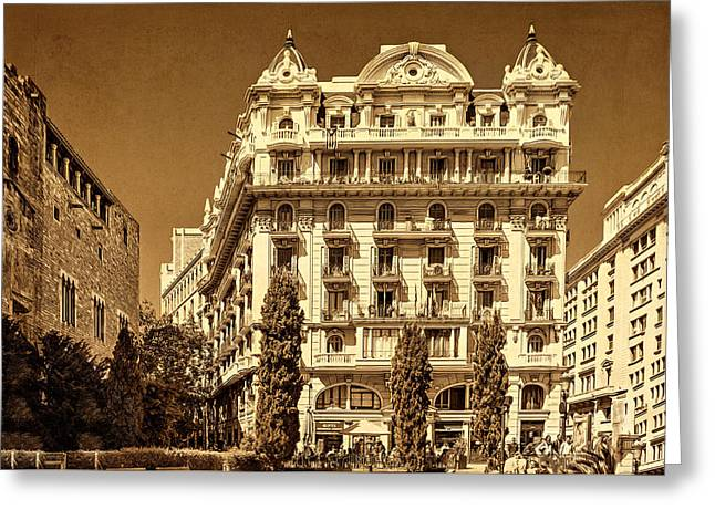 Old Street Greeting Cards - Barcelona Park Greeting Card by Maria Coulson
