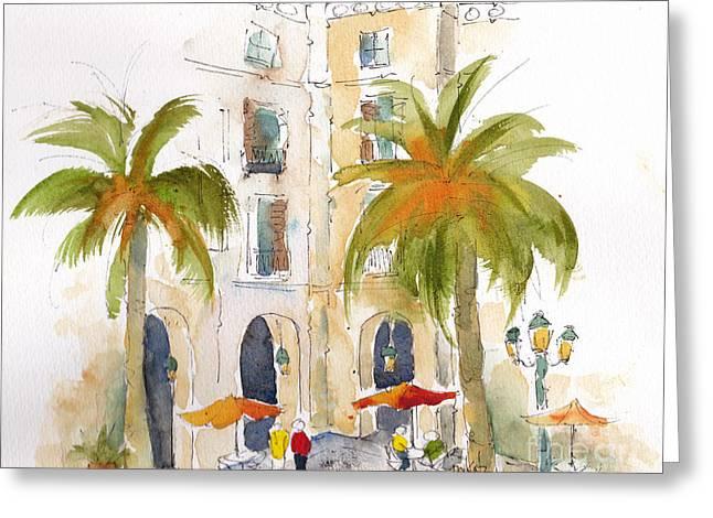 Barcelona Plaza Greeting Card by Pat Katz