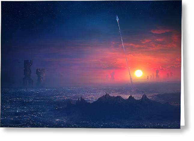 Barcelona Smoke And Neons Montserrat Greeting Card by Guillem H Pongiluppi