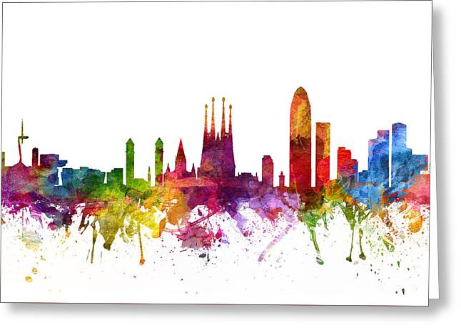 Skylines Drawings Greeting Cards - Barcelona Spain Cityscape 06 Greeting Card by Aged Pixel