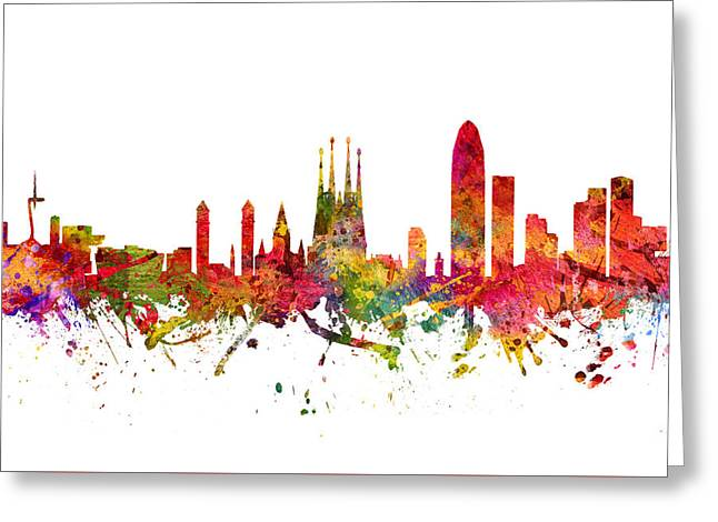 Barcelona Drawings Greeting Cards - Barcelona Spain Cityscape 08 Greeting Card by Aged Pixel