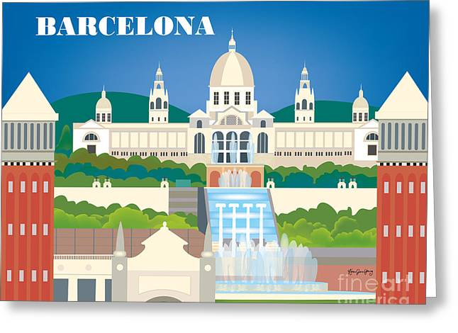 Small Canvas Greeting Cards - Barcelona Spain Horizontal Skyline by Loose Petals Greeting Card by Karen Young