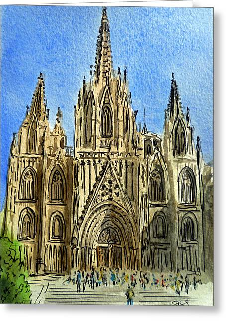 Old Churches Greeting Cards - Barcelona Spain Greeting Card by Irina Sztukowski