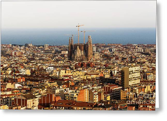 Evening Lights Mixed Media Greeting Cards - Barcelona Greeting Card by Svetlana Sewell