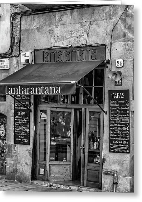 Barcelona Tantarantana Greeting Card by Georgia Fowler