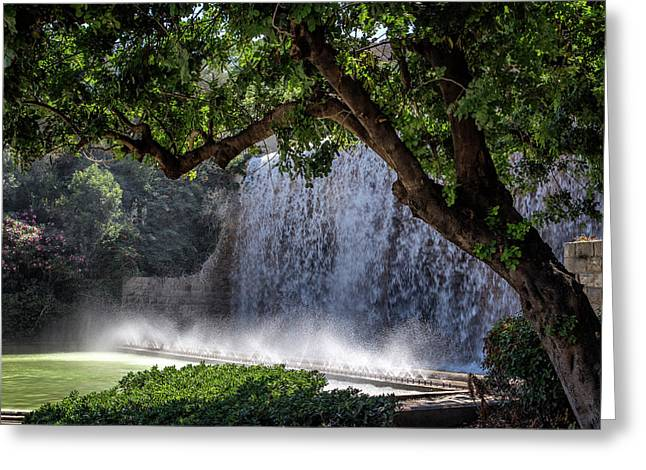 Barcelona Water Cascade Greeting Card by Georgia Fowler