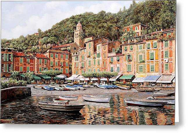 Cruise Vacation Greeting Cards - barche a Portofino Greeting Card by Guido Borelli