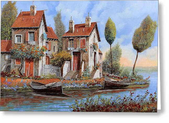 Lakescape Greeting Cards - Barche A Riva Greeting Card by Guido Borelli