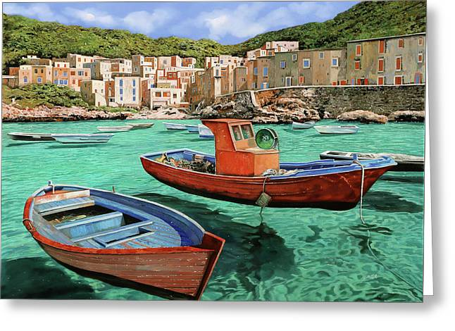 Barche Rosse E Blu Greeting Card by Guido Borelli