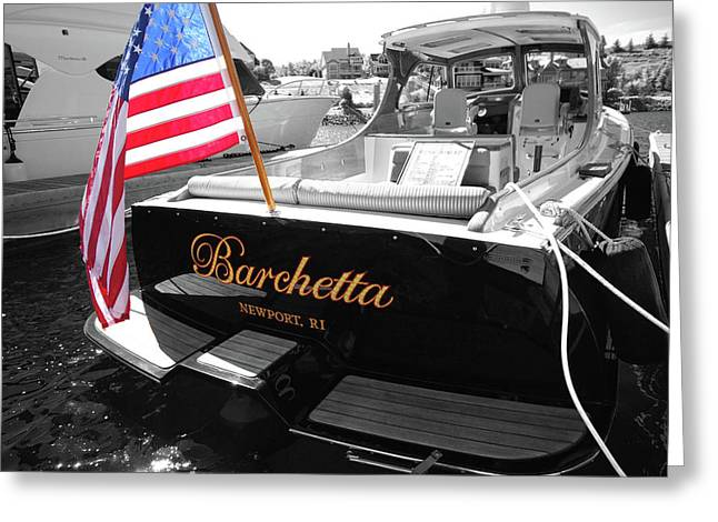 Boat Pyrography Greeting Cards - Barchetta Greeting Card by Russell Todd