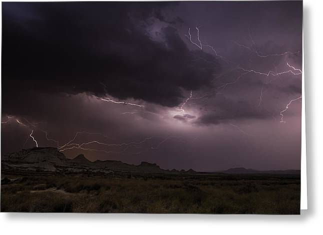 Lightning Landscapes Greeting Cards - Bardenas Storm Ii Greeting Card by Martin Zalba