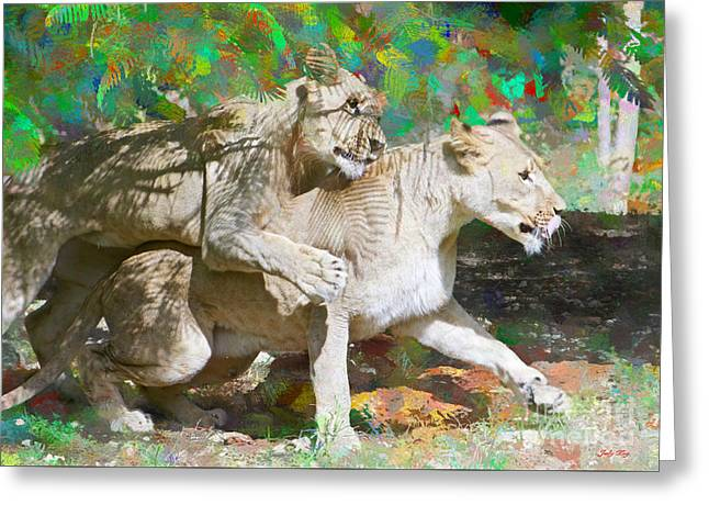 Recently Sold -  - Lions Greeting Cards - Bare Back Greeting Card by Judy Kay