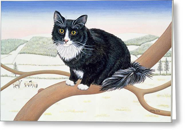 Black And White Cats Greeting Cards - Bare Branches  Number Two Greeting Card by Ditz