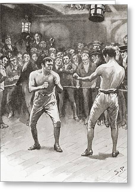 Sports Glove Drawings Greeting Cards - Bare-knuckle Boxing In The 19th Greeting Card by Vintage Design Pics