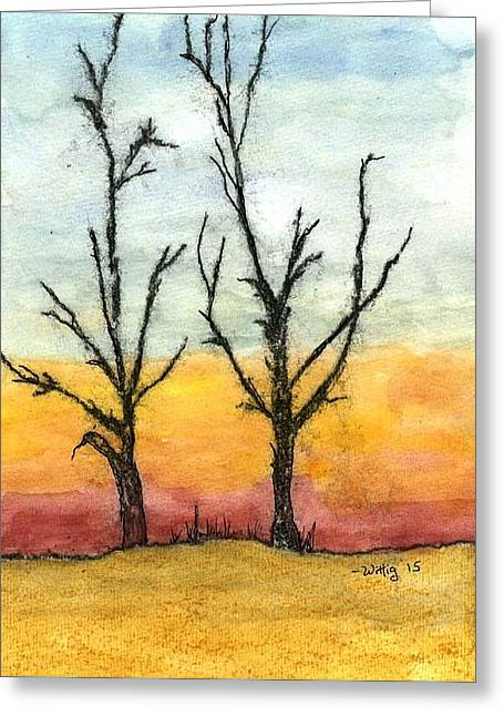 Bare Trees Drawings Greeting Cards - Bare trees at Sunset Greeting Card by Robert Wittig