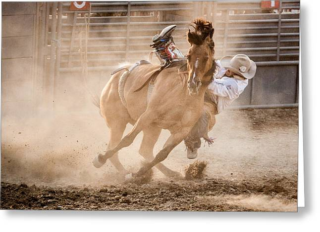 Bucking Horses Greeting Cards - Bareback Bronc Greeting Card by Jay Heiser