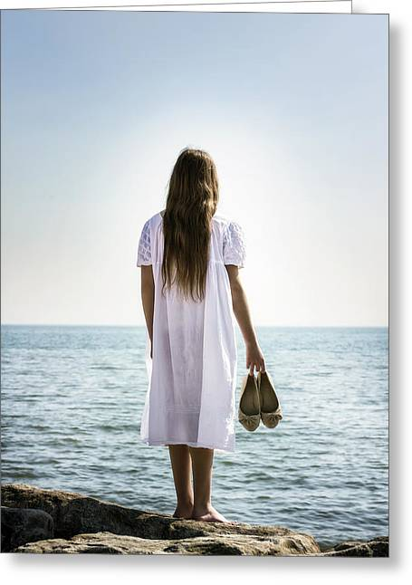 Barefoot At The Sea Greeting Card by Joana Kruse