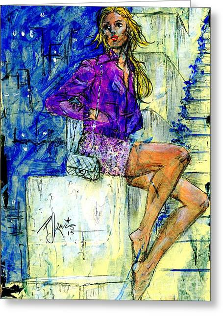 Woman With Long Hair Greeting Cards - Barefoot City Nights Greeting Card by P J Lewis
