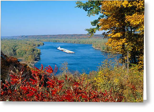 Water Vessels Greeting Cards - Barge On Mississippi River In Autumn Greeting Card by Panoramic Images
