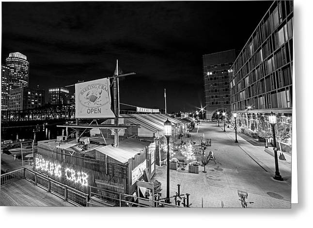 Barking Crab Boston Ma Black And White Greeting Card by Toby McGuire
