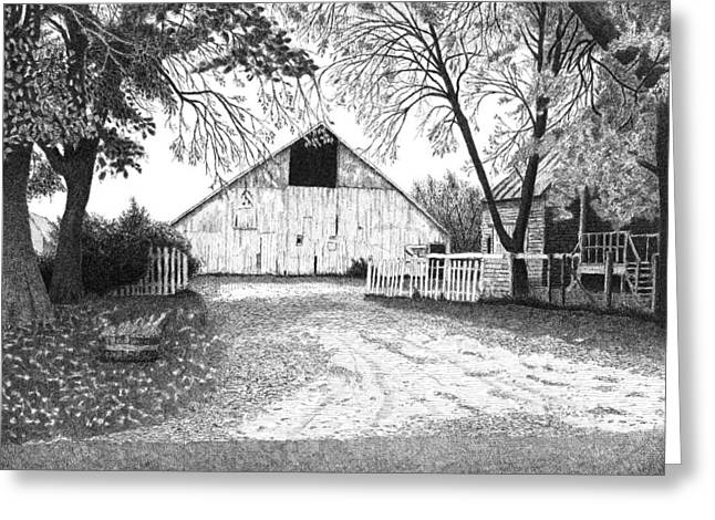 Fall Scenes Drawings Greeting Cards - Barn 20 Greeting Card by Joel Lueck