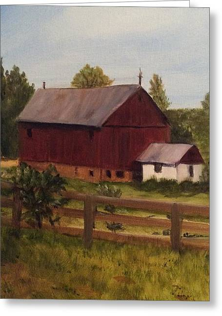 Barn And Milk House Greeting Card by Betty Pimm
