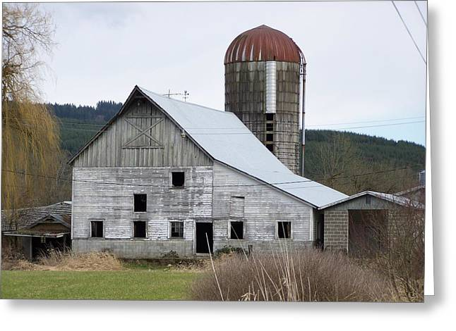 Silo Pyrography Greeting Cards - Barn And Silo Greeting Card by Laurie Kidd
