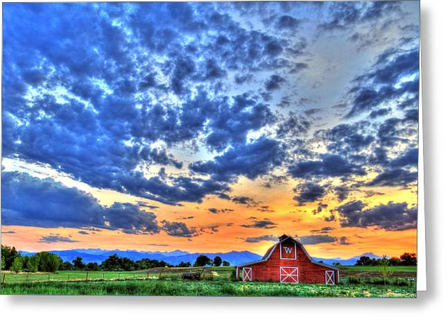 Barn And Sky Greeting Card by Scott Mahon