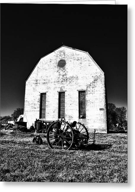 Barn And Tractor In Black And White Greeting Card by Bill Cannon