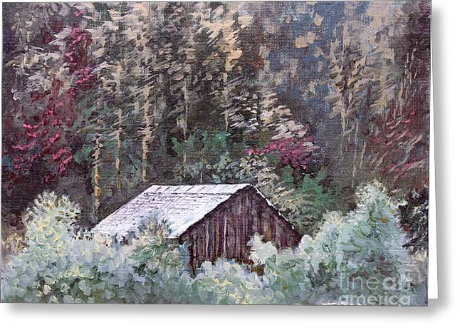 Tennessee Barn Paintings Greeting Cards - Barn at Cades Cove Greeting Card by Todd A Blanchard